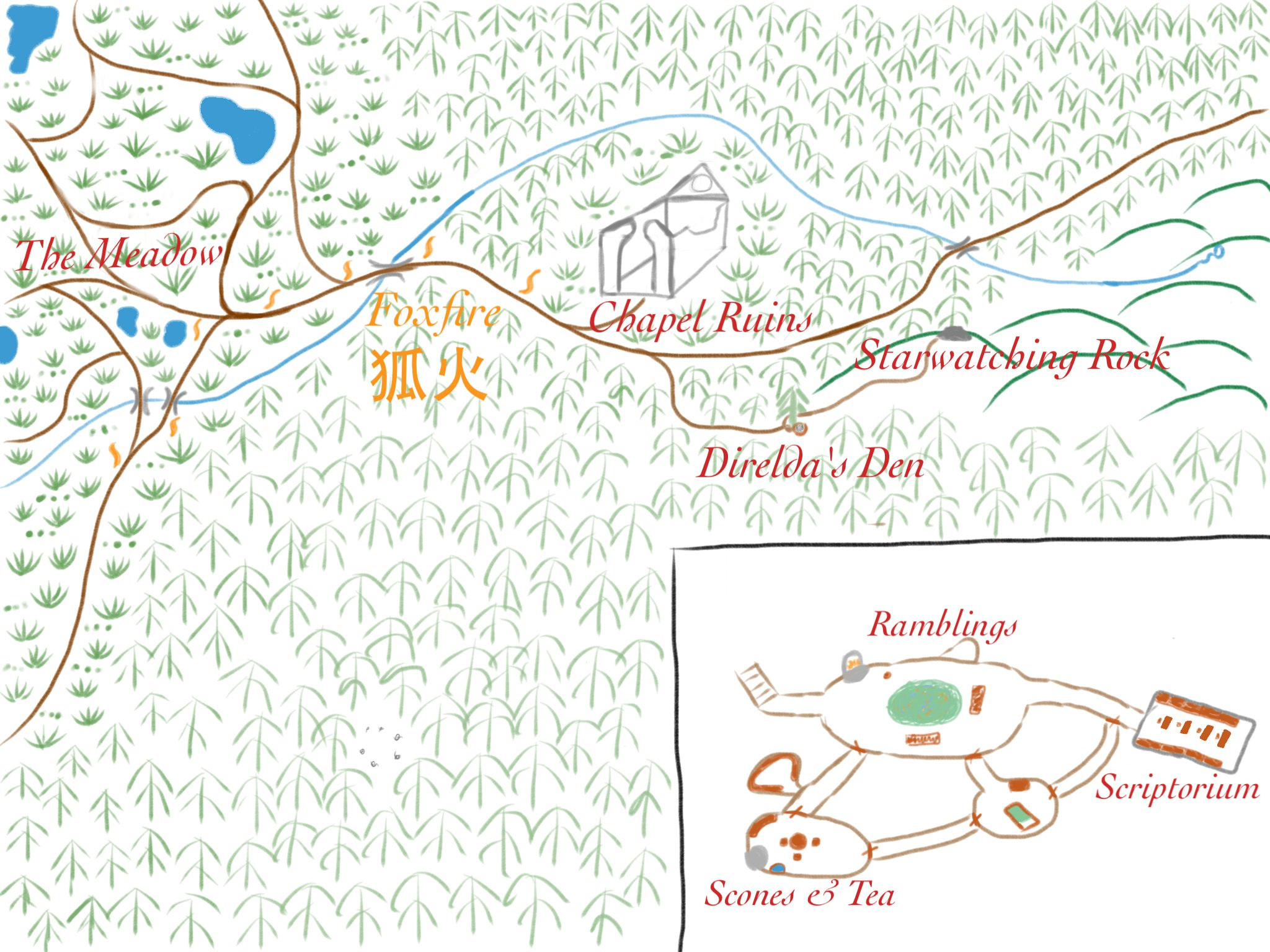 A map of Direlda's Den