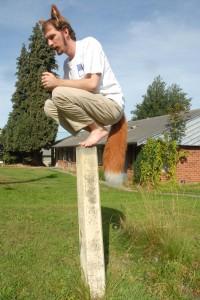 Direlda perched on a post