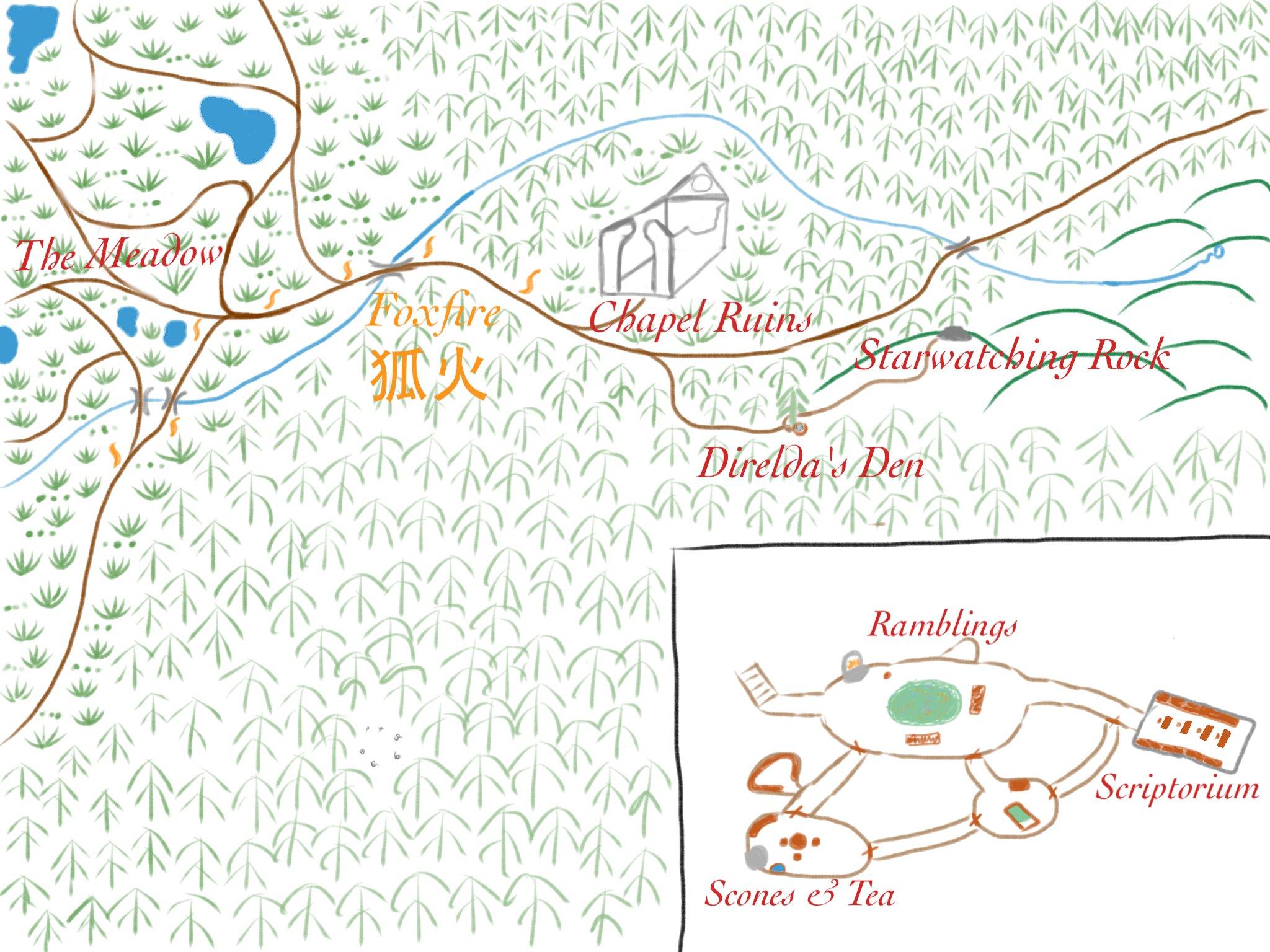 A map of Direlda's Den